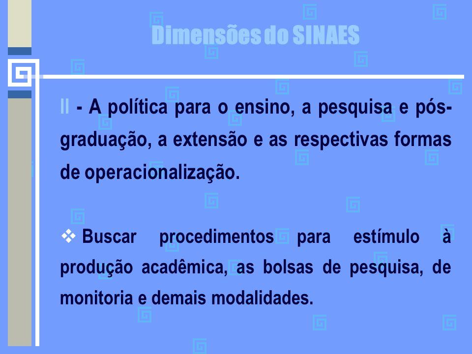 Dimensões do SINAES II - A política para o ensino, a pesquisa e pós-graduação, a extensão e as respectivas formas de operacionalização.