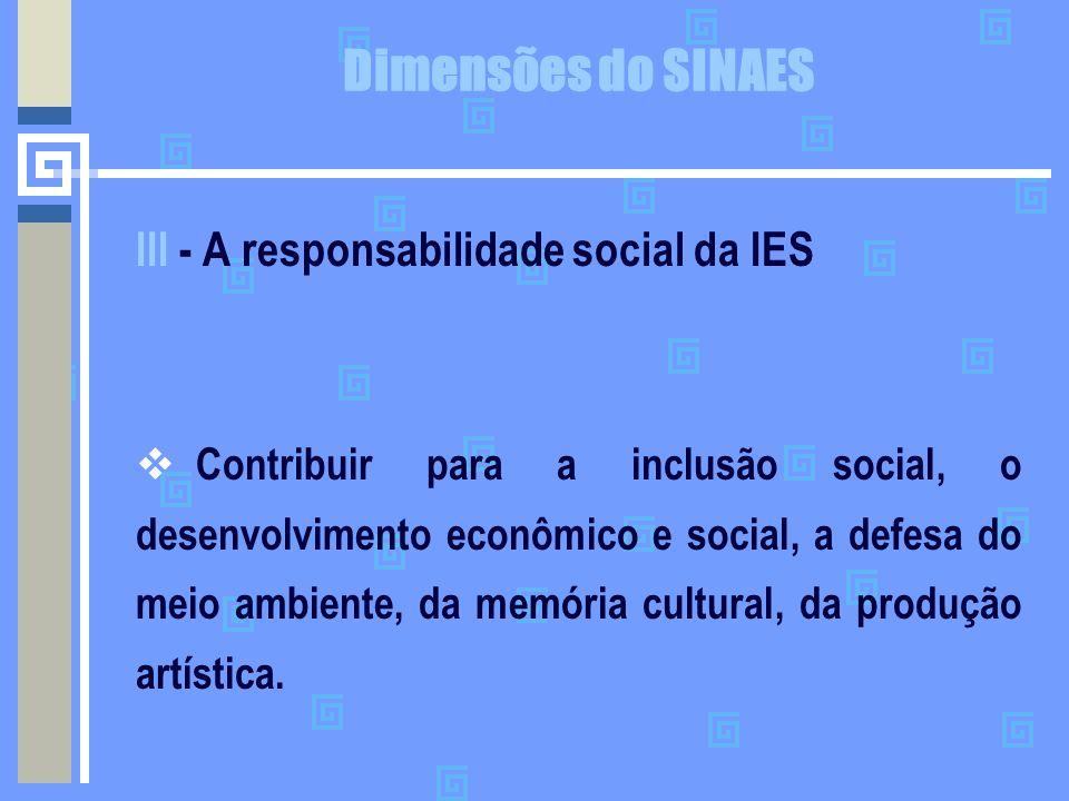 Dimensões do SINAES III - A responsabilidade social da IES