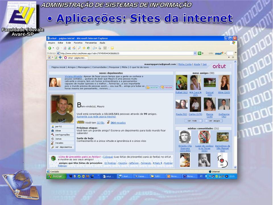 Aplicações: Sites da internet