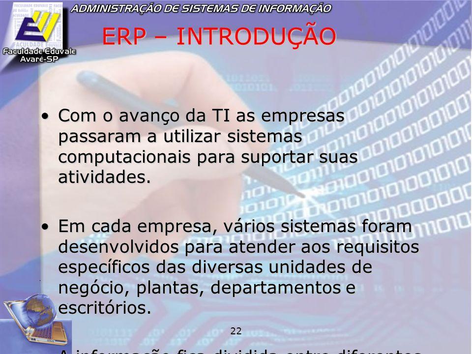 ERP – INTRODUÇÃO Com o avanço da TI as empresas passaram a utilizar sistemas computacionais para suportar suas atividades.