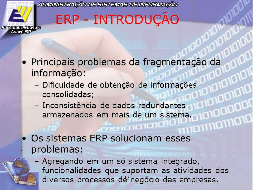 ERP - INTRODUÇÃO Principais problemas da fragmentação da informação: