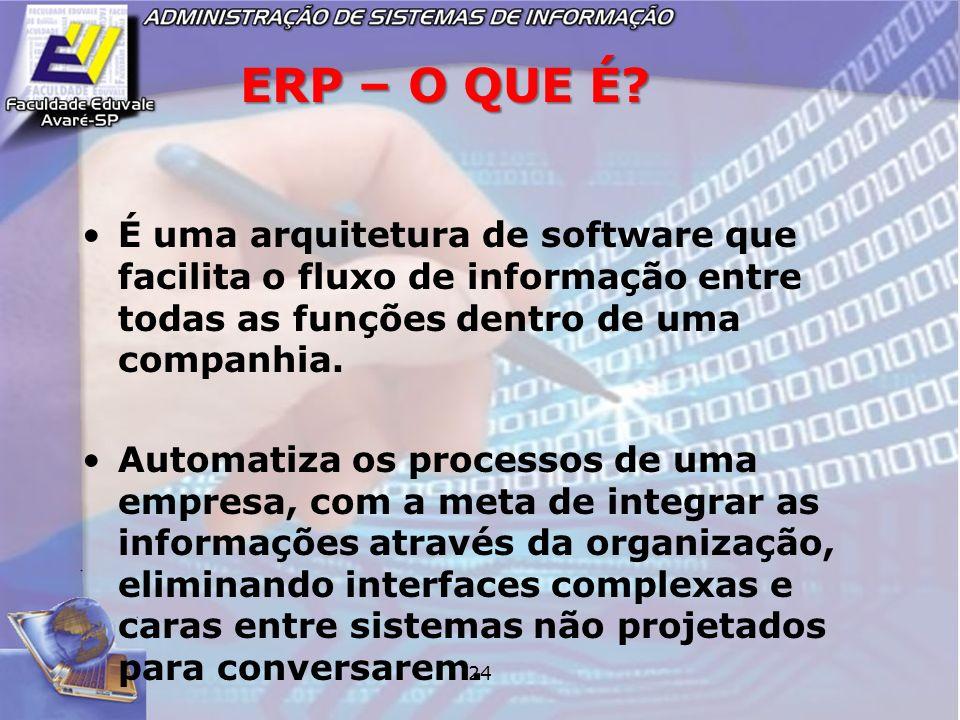 ERP – O QUE É É uma arquitetura de software que facilita o fluxo de informação entre todas as funções dentro de uma companhia.