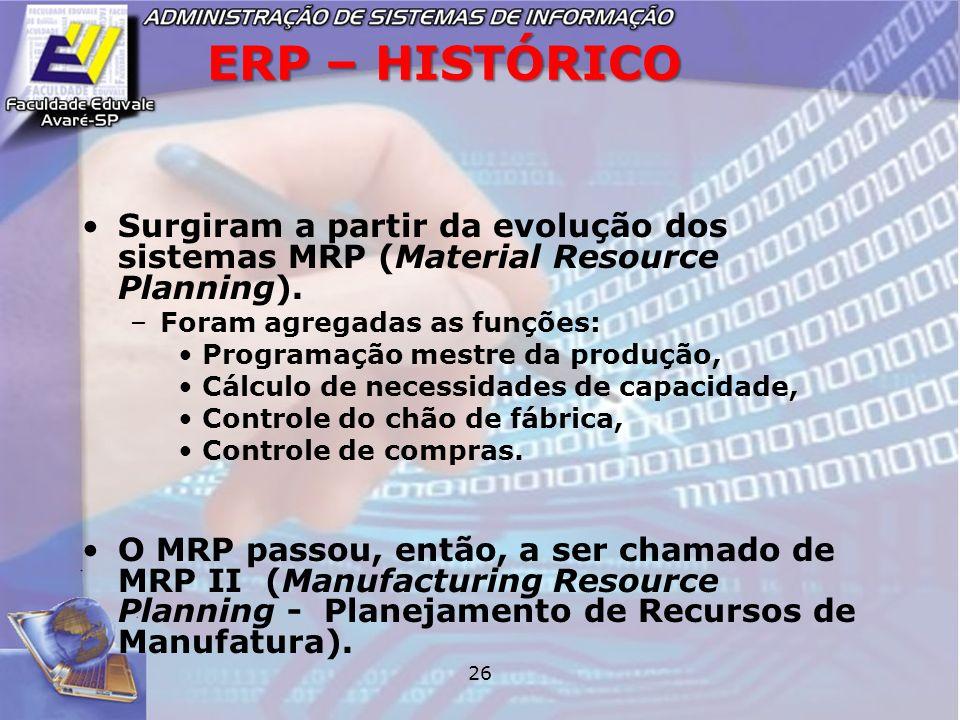 ERP – HISTÓRICO Surgiram a partir da evolução dos sistemas MRP (Material Resource Planning). Foram agregadas as funções: