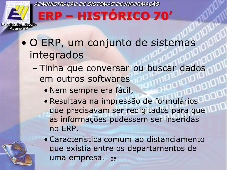 ERP – HISTÓRICO 70' O ERP, um conjunto de sistemas integrados