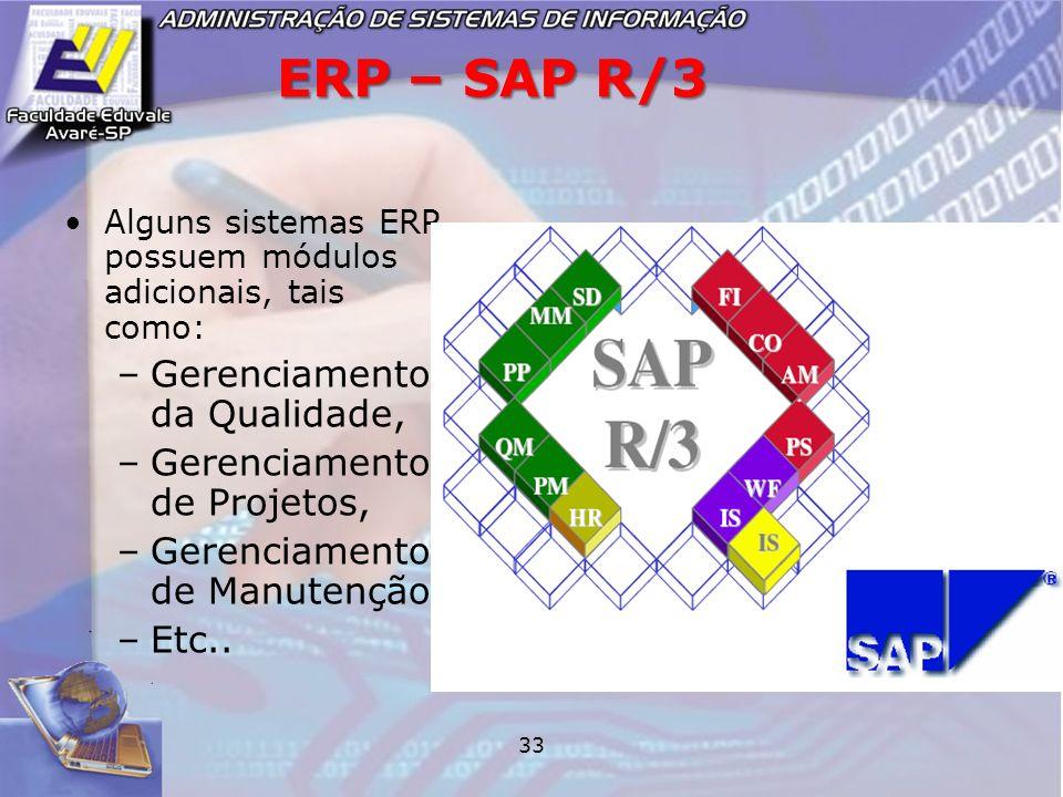 ERP – SAP R/3 Gerenciamento da Qualidade, Gerenciamento de Projetos,