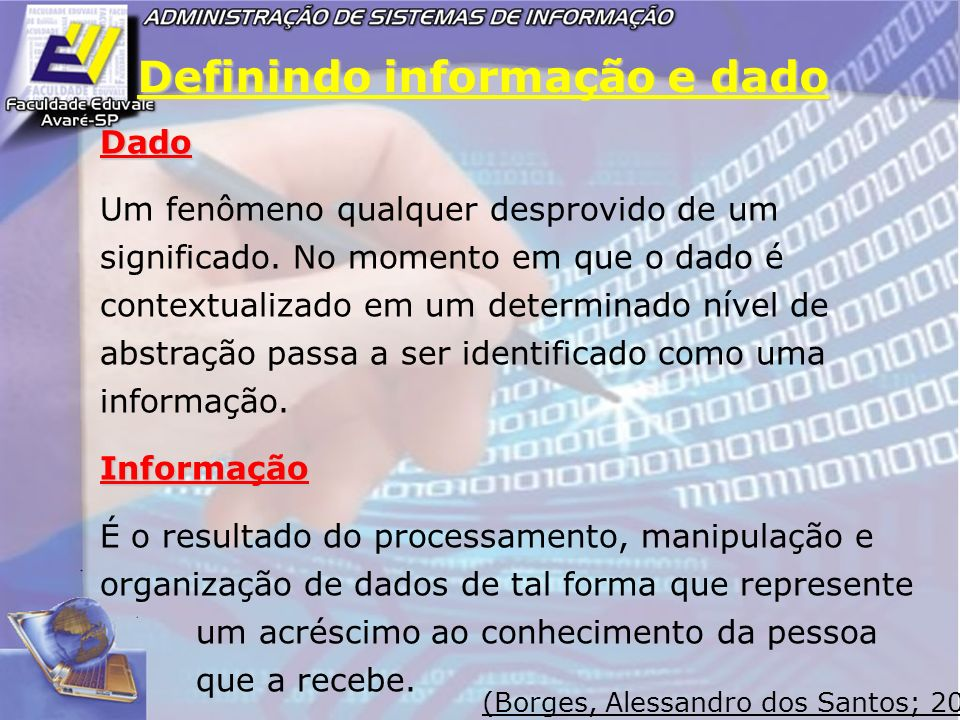 Definindo informação e dado