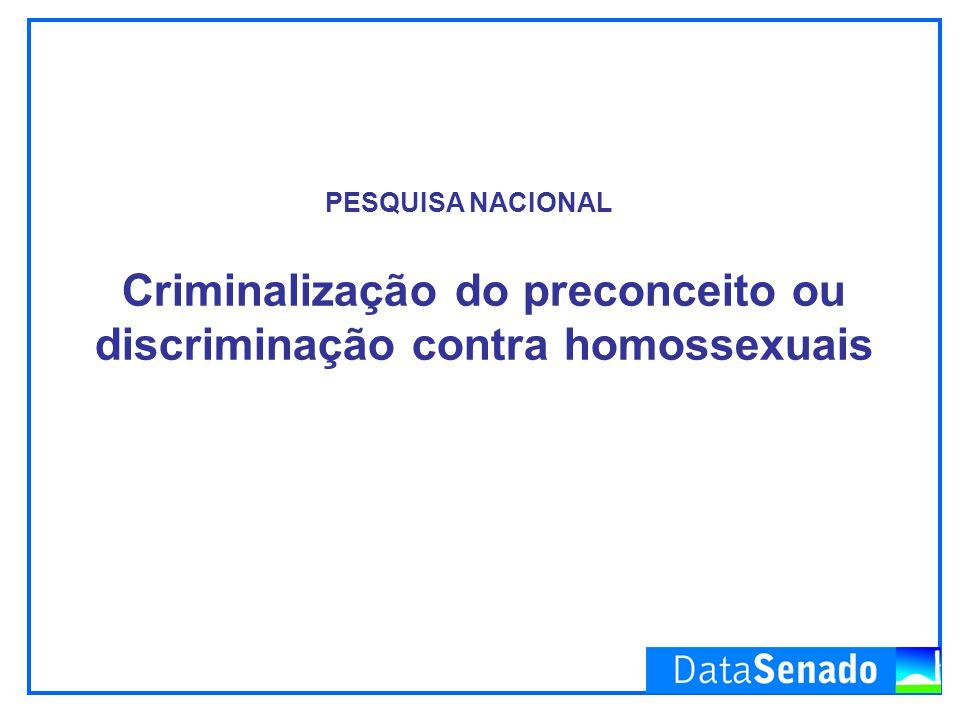 Criminalização do preconceito ou discriminação contra homossexuais