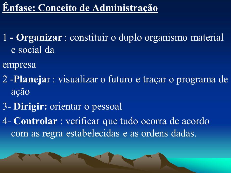 Ênfase: Conceito de Administração