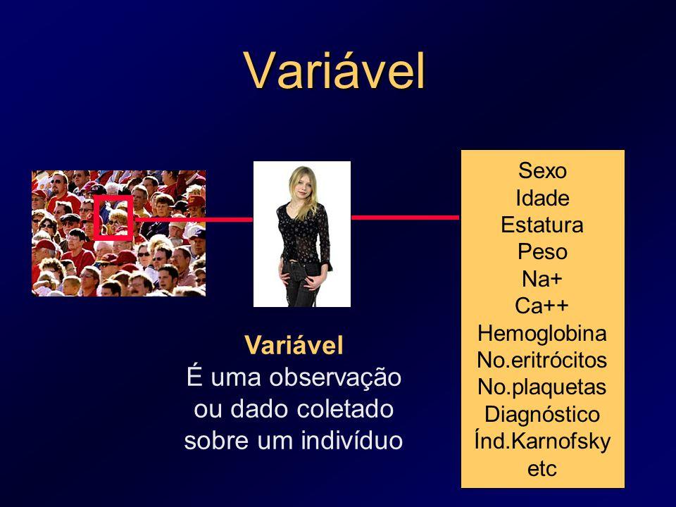 Variável É uma observação ou dado coletado sobre um indivíduo
