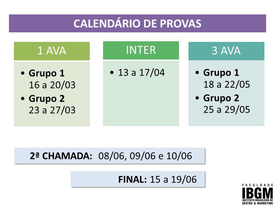 CALENDÁRIO DE PROVAS 1 AVA INTER 3 AVA Grupo 1 16 a 20/03
