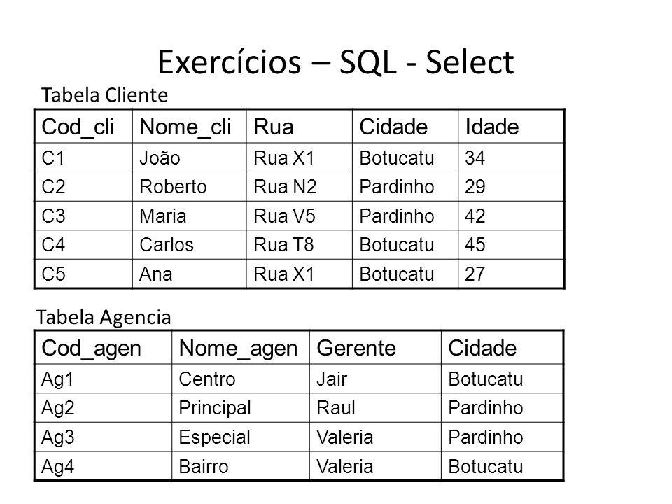Exercícios – SQL - Select
