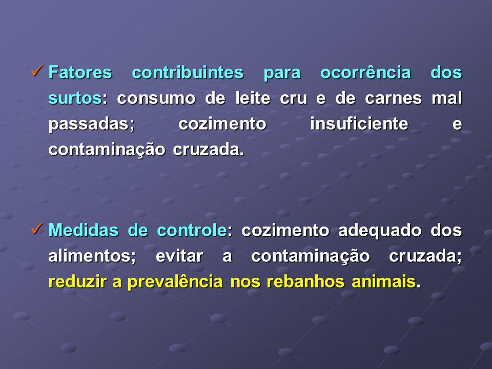 Fatores contribuintes para ocorrência dos surtos: consumo de leite cru e de carnes mal passadas; cozimento insuficiente e contaminação cruzada.