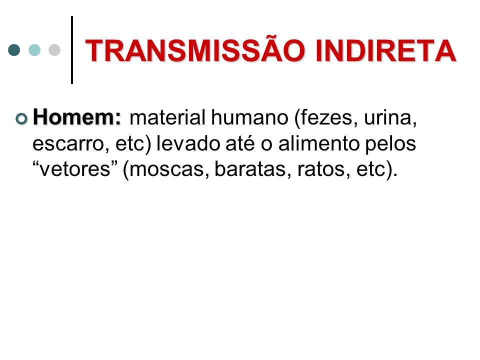 TRANSMISSÃO INDIRETA Homem: material humano (fezes, urina, escarro, etc) levado até o alimento pelos vetores (moscas, baratas, ratos, etc).