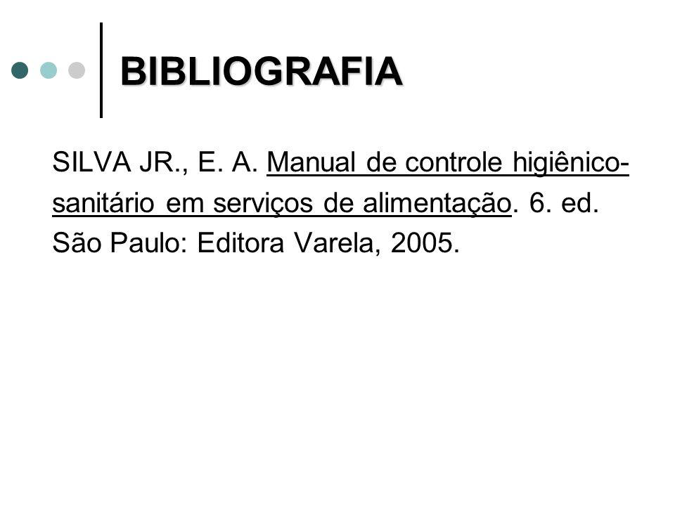 BIBLIOGRAFIA SILVA JR., E. A. Manual de controle higiênico-