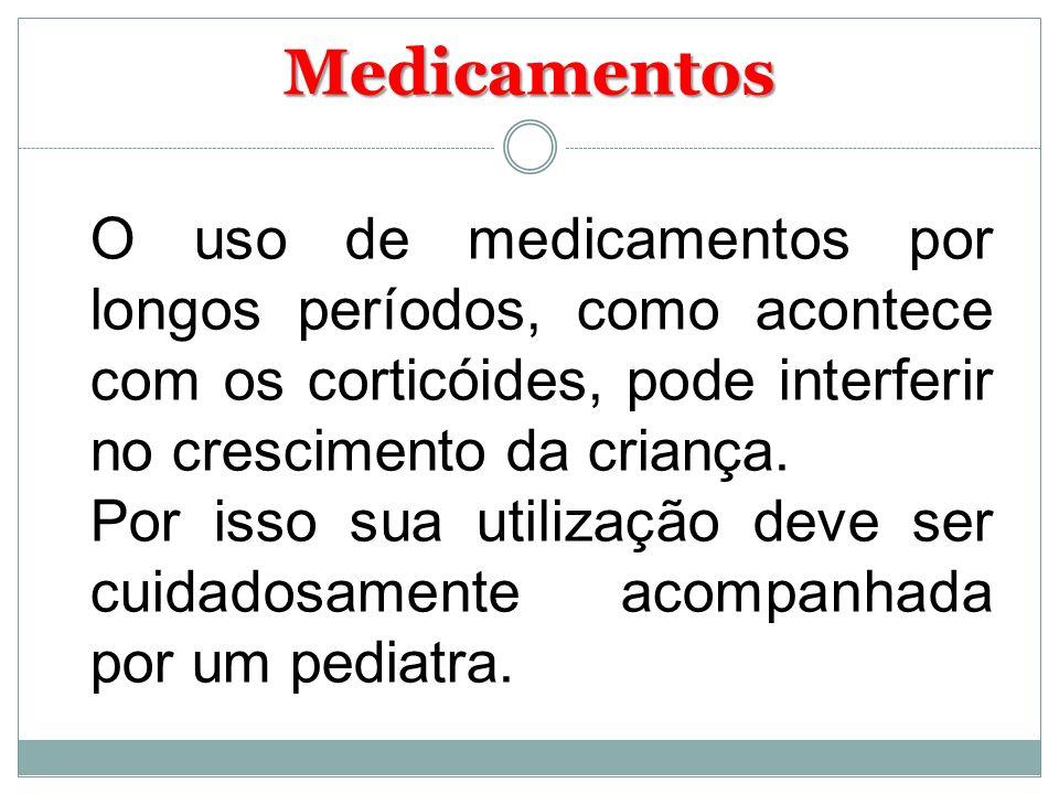 MedicamentosO uso de medicamentos por longos períodos, como acontece com os corticóides, pode interferir no crescimento da criança.