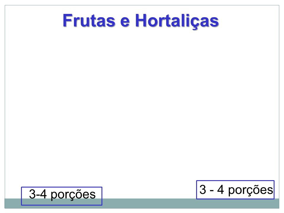 Frutas e Hortaliças 3 - 4 porções 3-4 porções