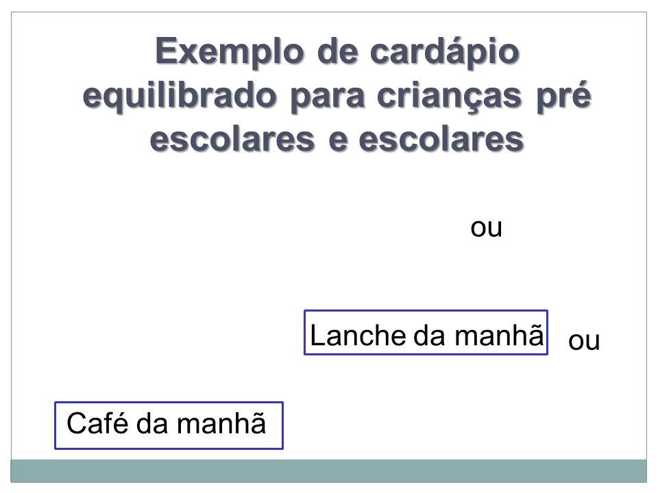 Exemplo de cardápio equilibrado para crianças pré escolares e escolares