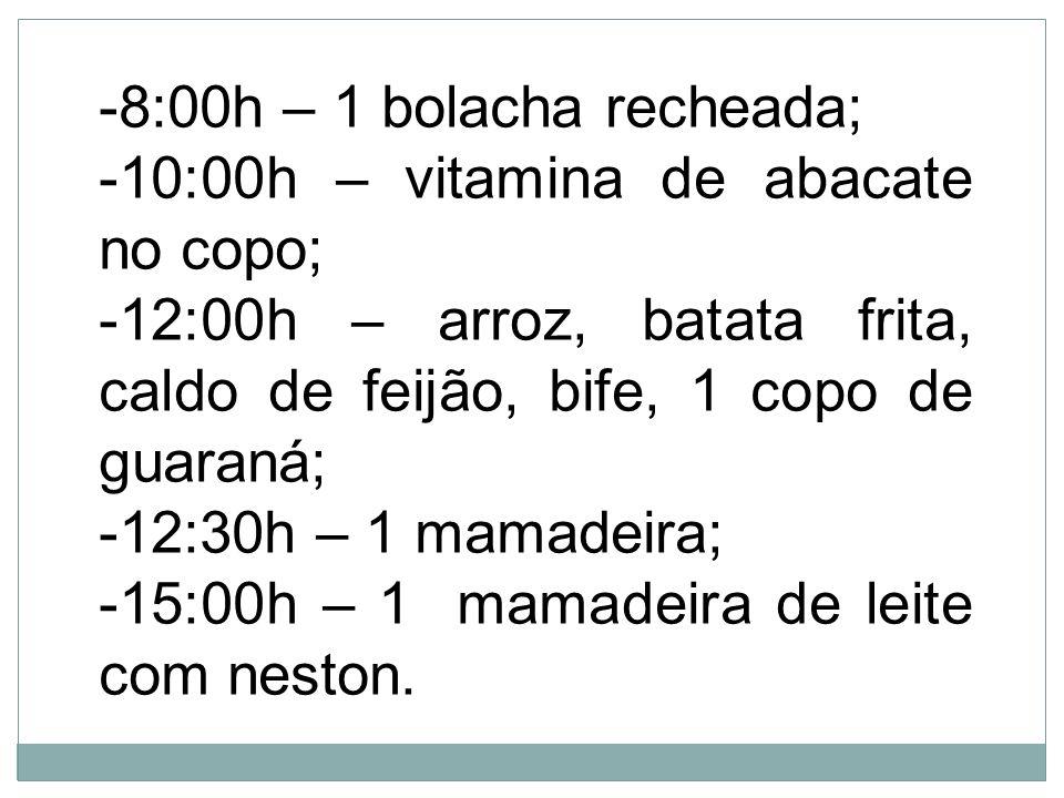 8:00h – 1 bolacha recheada;10:00h – vitamina de abacate no copo; 12:00h – arroz, batata frita, caldo de feijão, bife, 1 copo de guaraná;
