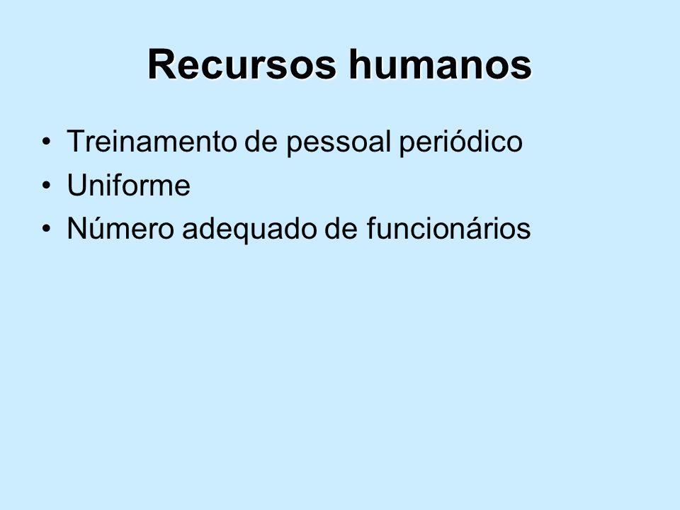 Recursos humanos Treinamento de pessoal periódico Uniforme