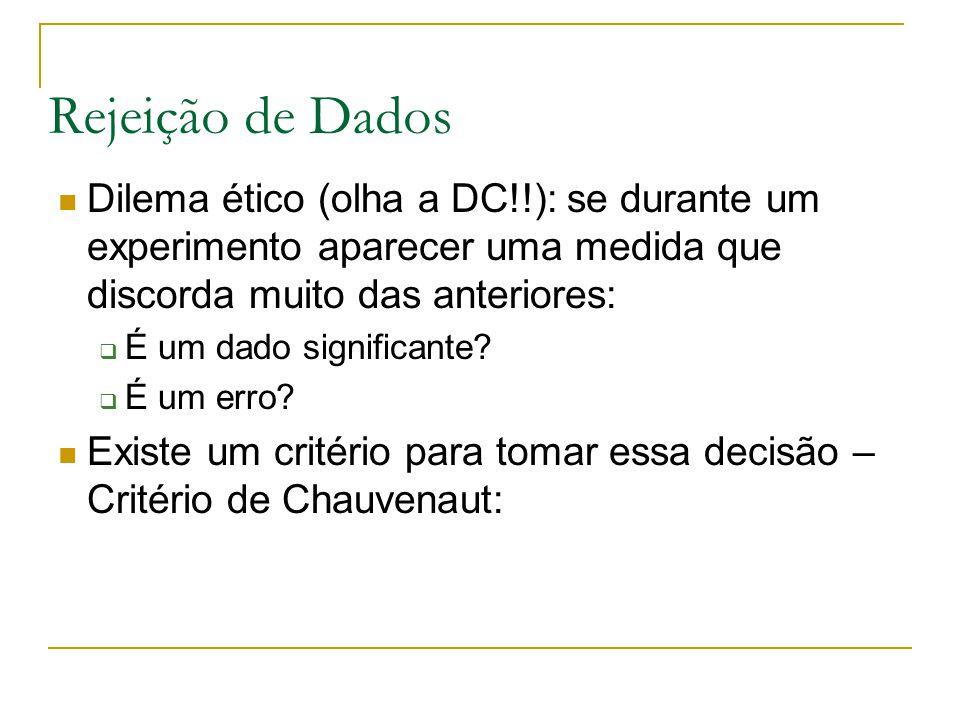 Rejeição de Dados Dilema ético (olha a DC!!): se durante um experimento aparecer uma medida que discorda muito das anteriores:
