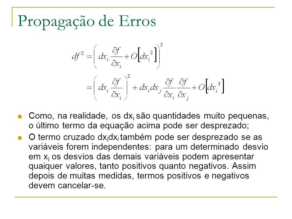 Propagação de Erros Como, na realidade, os dxi são quantidades muito pequenas, o último termo da equação acima pode ser desprezado;