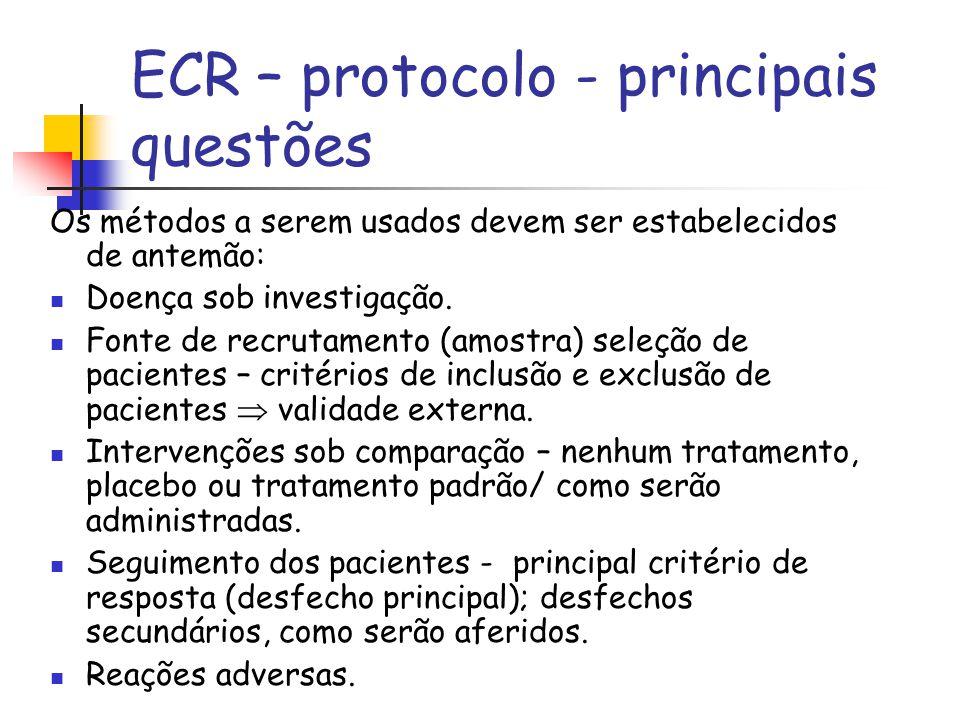 ECR – protocolo - principais questões