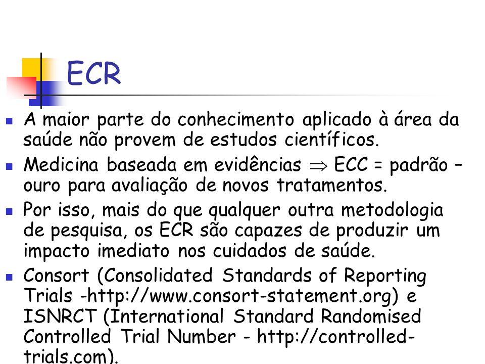 ECR A maior parte do conhecimento aplicado à área da saúde não provem de estudos científicos.