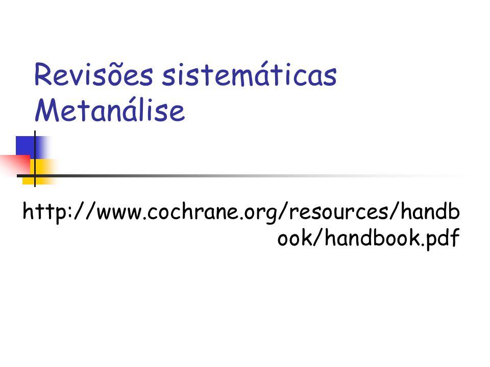 Revisões sistemáticas Metanálise