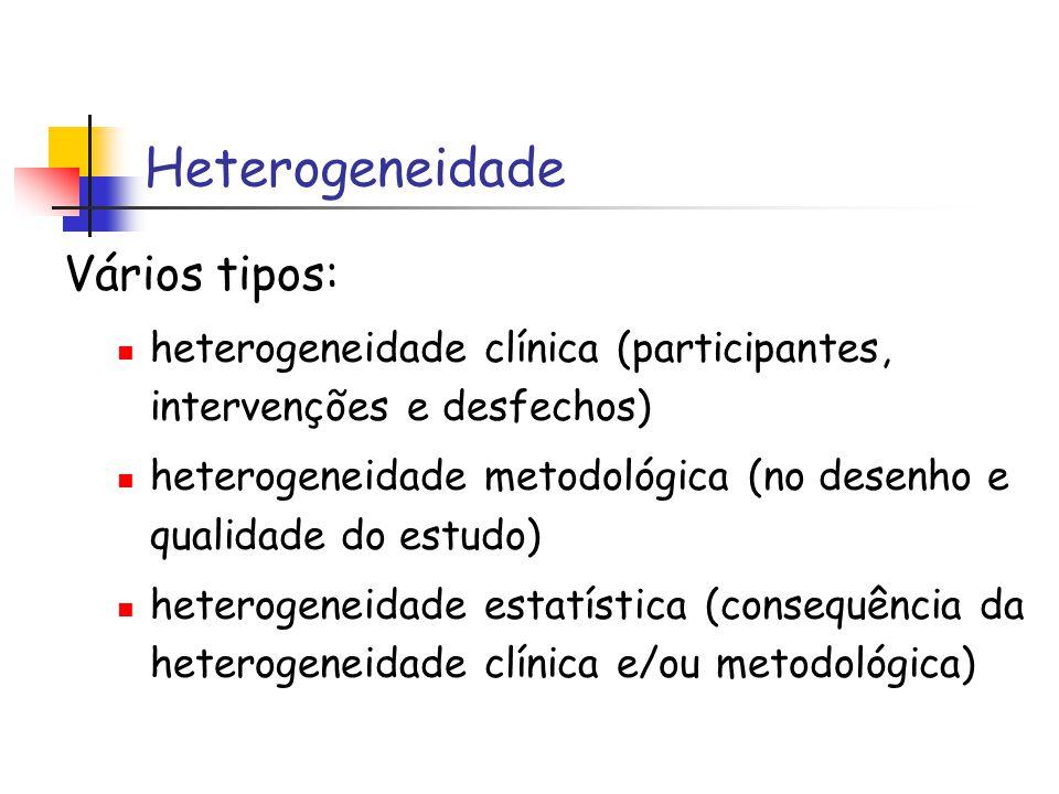 Heterogeneidade Vários tipos: