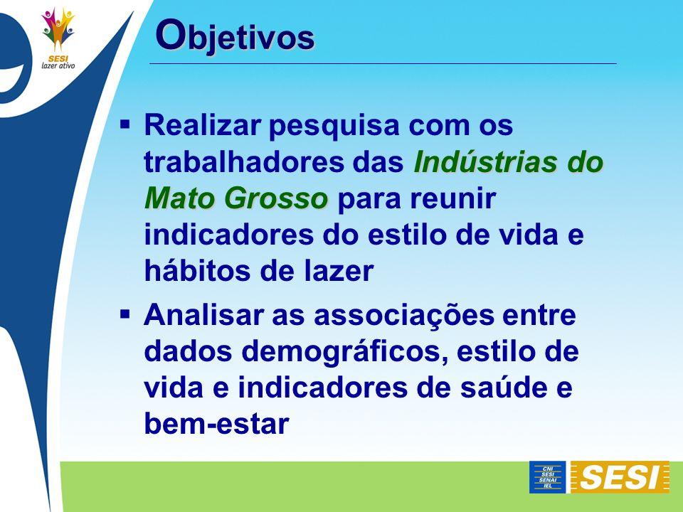 Objetivos Realizar pesquisa com os trabalhadores das Indústrias do Mato Grosso para reunir indicadores do estilo de vida e hábitos de lazer.