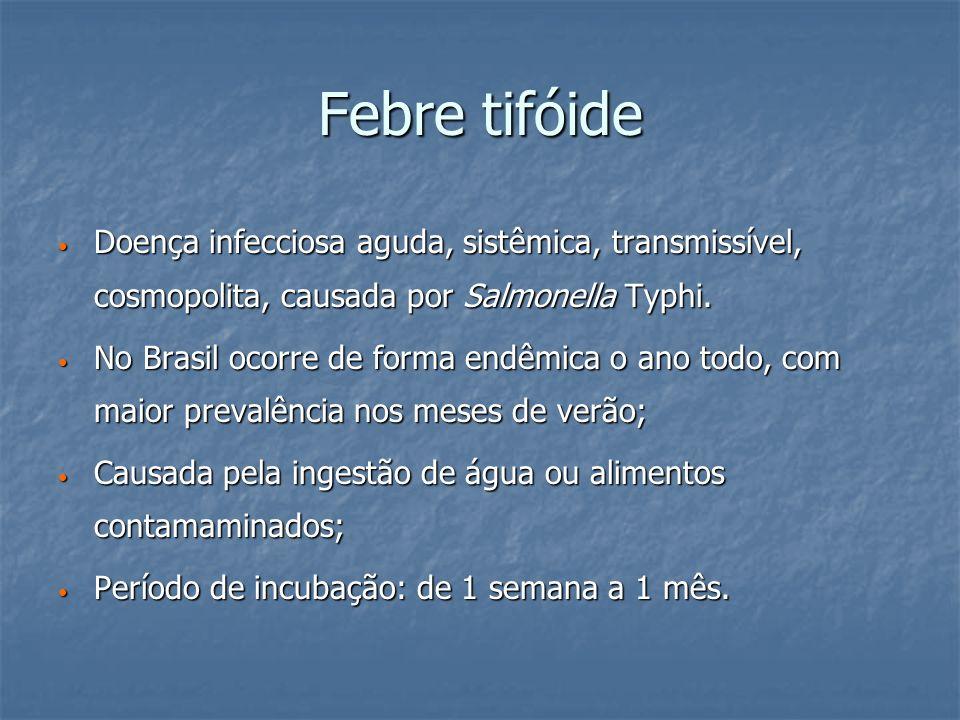 Febre tifóide Doença infecciosa aguda, sistêmica, transmissível, cosmopolita, causada por Salmonella Typhi.