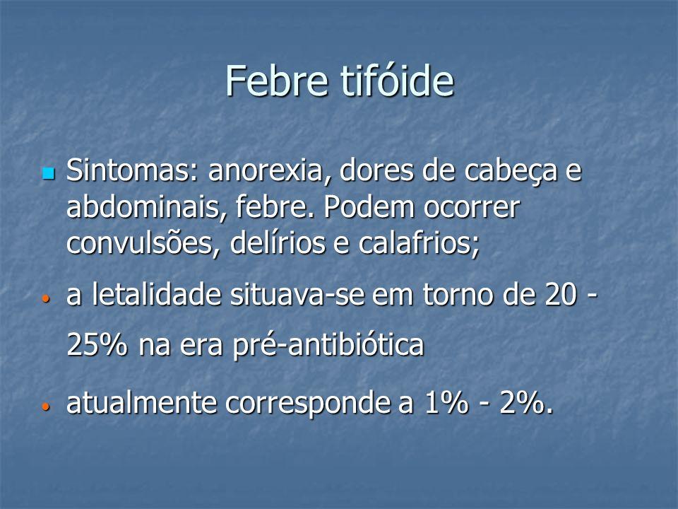 Febre tifóide Sintomas: anorexia, dores de cabeça e abdominais, febre. Podem ocorrer convulsões, delírios e calafrios;