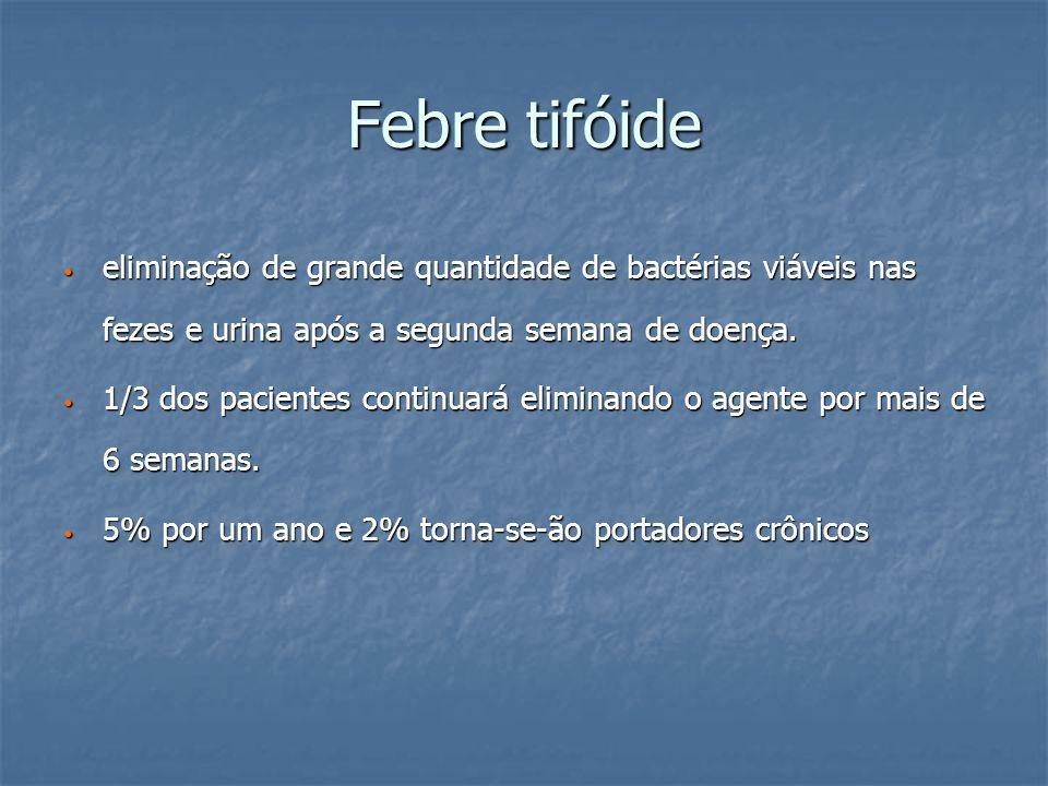Febre tifóide eliminação de grande quantidade de bactérias viáveis nas fezes e urina após a segunda semana de doença.
