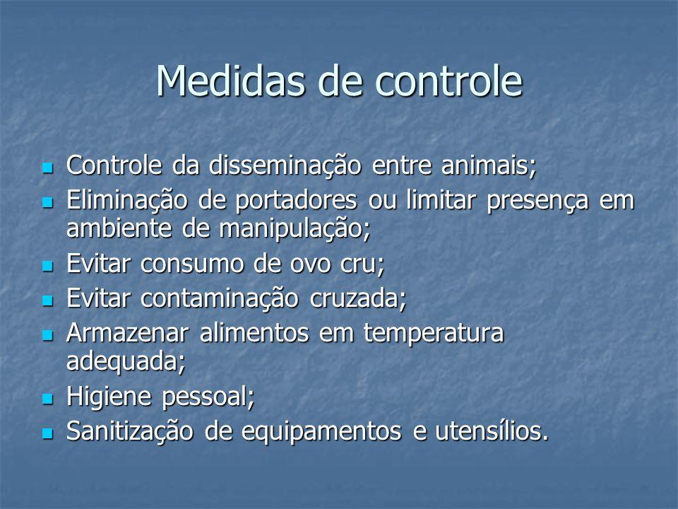 Medidas de controle Controle da disseminação entre animais;