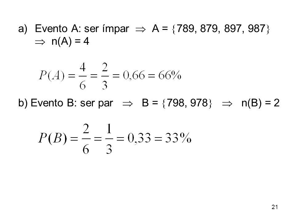 Evento A: ser ímpar  A = 789, 879, 897, 987  n(A) = 4