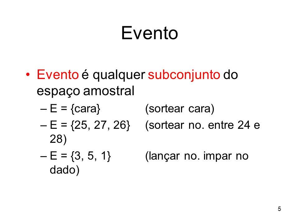 Evento Evento é qualquer subconjunto do espaço amostral