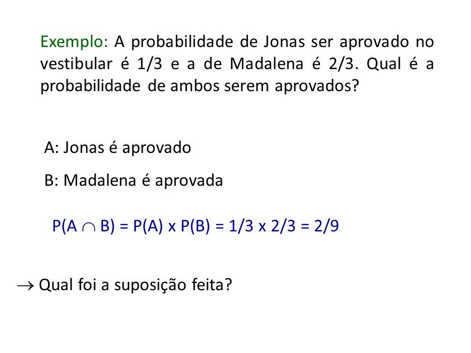 Exemplo: A probabilidade de Jonas ser aprovado no vestibular é 1/3 e a de Madalena é 2/3. Qual é a probabilidade de ambos serem aprovados
