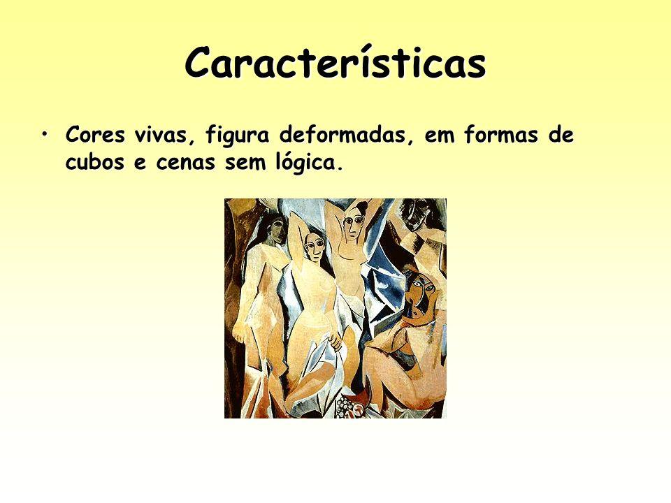 Características Cores vivas, figura deformadas, em formas de cubos e cenas sem lógica.