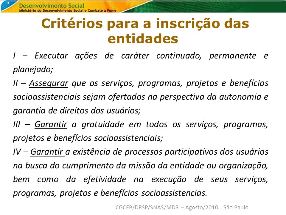 Critérios para a inscrição das entidades