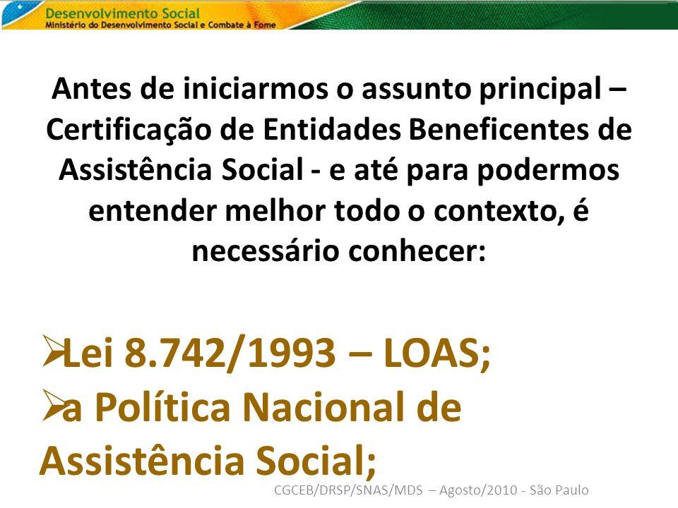 a Política Nacional de Assistência Social;