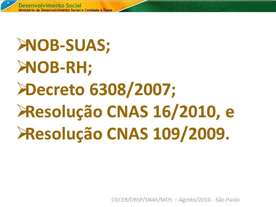 NOB-SUAS; NOB-RH; Decreto 6308/2007; Resolução CNAS 16/2010, e