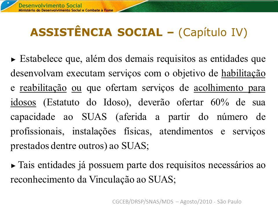 ASSISTÊNCIA SOCIAL – (Capítulo IV)