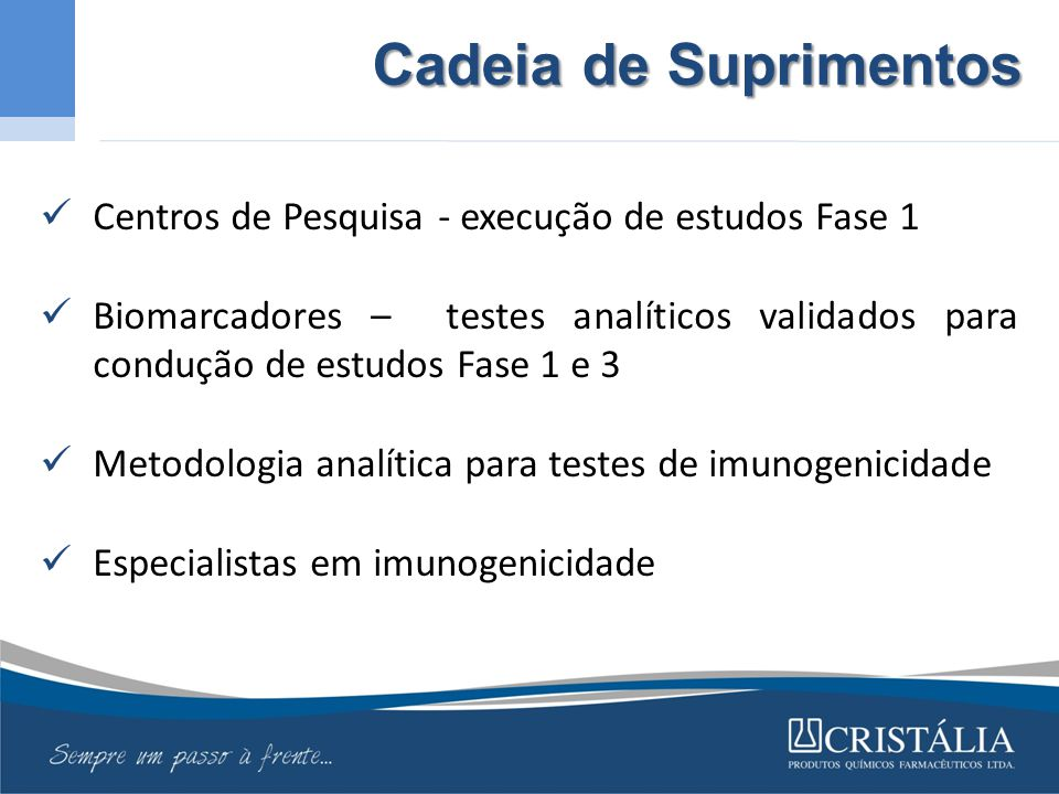 Cadeia de Suprimentos Centros de Pesquisa - execução de estudos Fase 1