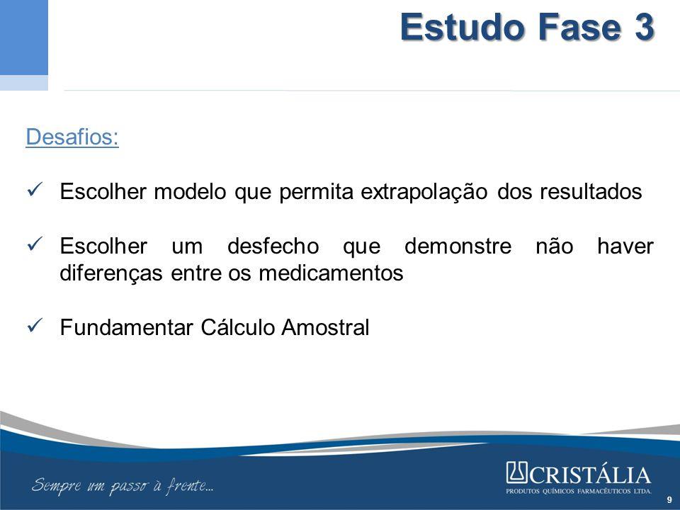 Estudo Fase 3 Desafios: Escolher modelo que permita extrapolação dos resultados.