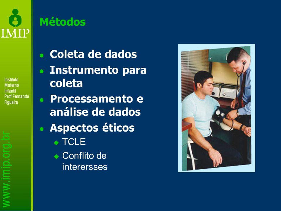 Instrumento para coleta Processamento e análise de dados