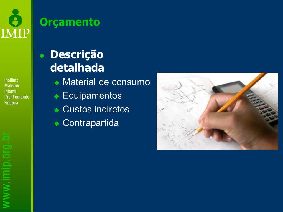 Orçamento Descrição detalhada Material de consumo Equipamentos