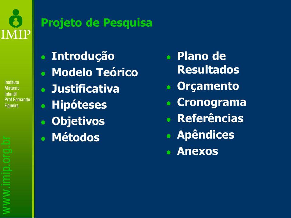 Projeto de Pesquisa Introdução. Modelo Teórico. Justificativa. Hipóteses. Objetivos. Métodos. Plano de Resultados.