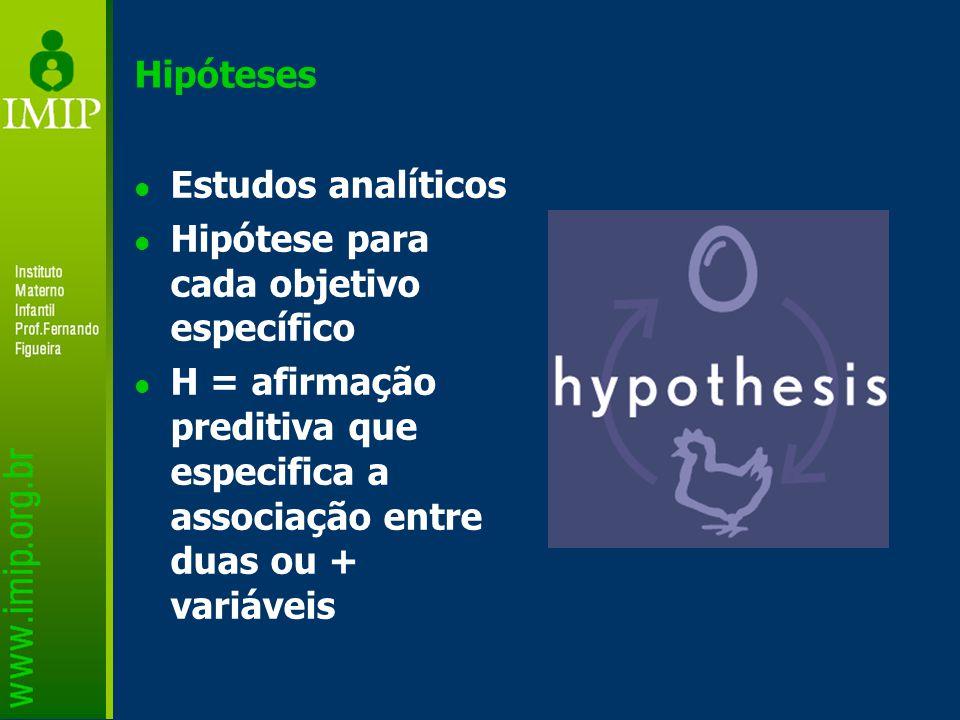 Hipóteses Estudos analíticos. Hipótese para cada objetivo específico.