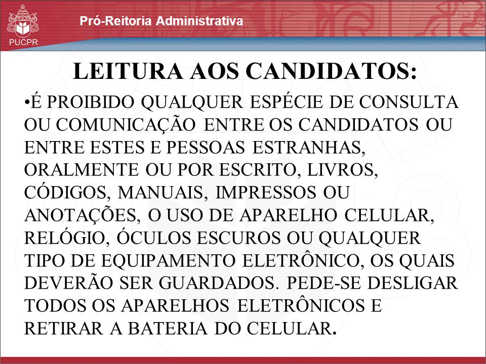 LEITURA AOS CANDIDATOS: