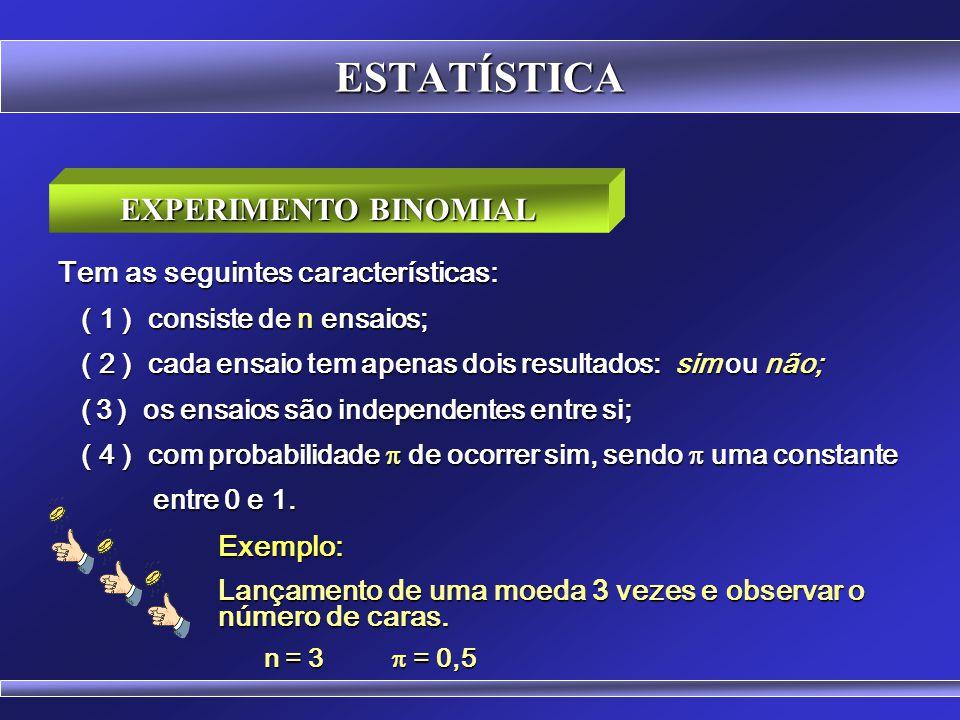 ESTATÍSTICA EXPERIMENTO BINOMIAL Tem as seguintes características:
